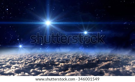 the mystery of stars glowing in starry night. - Elements of this Image Furnished by NASA - stock photo
