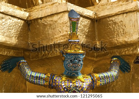 The Mythical Guadian at the Temple of Emerald Buddha, Bangkok, Thailand - stock photo