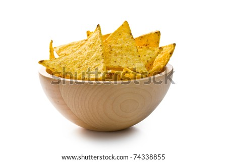 the nachos chips in bowl on white background - stock photo