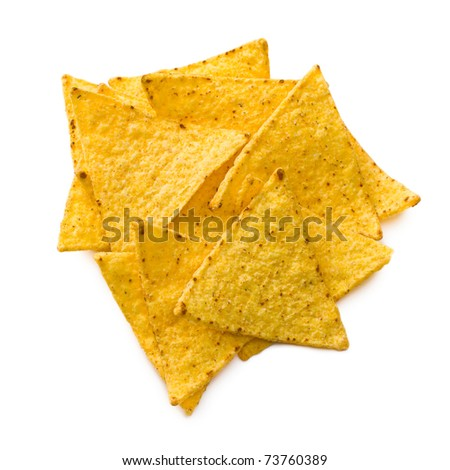 the nachos chips on white background - stock photo