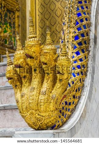 The naga symbol at Wat Prakaw, Bangkok, Thailand. - stock photo