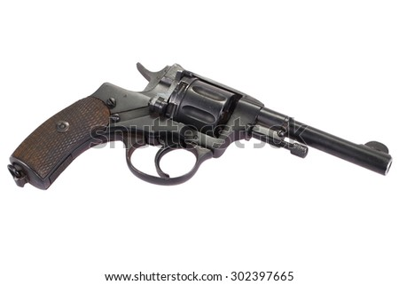 The Nagant M1895 Revolver  isolated on a white background