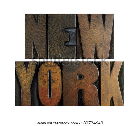 The name NEW YORK written in vintage letterpress type