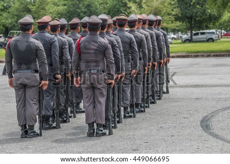 The name of the police authorities. Is responsible for patrolling peacekeeping arrest and suppress the offense. Called police on duty as sheriff. - stock photo