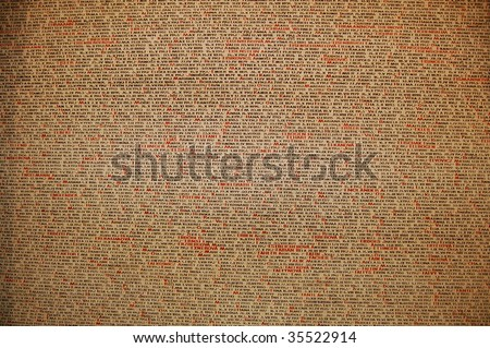 The names of Jews killed by Nazi writings in the cemetery in prague - stock photo