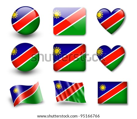 The Namibia flag - set of icons and flags. glossy and matte on a white background.