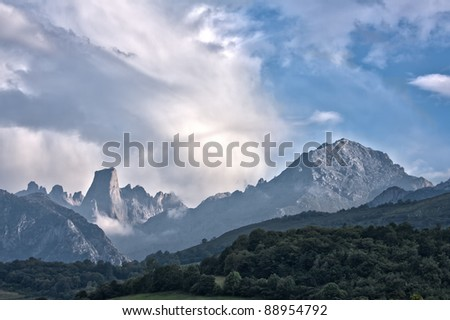 The Naranjo de Bulnes (known as Picu Urriellu in Asturian) is a limestone peak dating from the paleozoic era, located in the Macizo Central region of the Picos de Europa, Asturias, Spain. - stock photo
