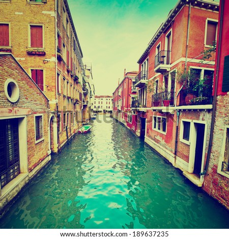The Narrow Canal- the Street in Venice, Instagram Effect - stock photo