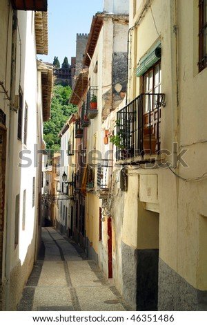 The Narrow hilly streets of Granada Spain.