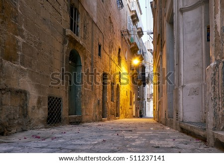 The narrow street Is - Sirena on Senglea city in the early morning. Malta