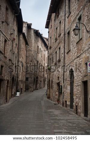 The narrow streets of Gubbio, Italy - stock photo