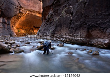 The Narrows Zion National Park - stock photo