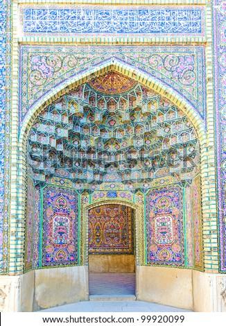 The Nasir al-Mulk Mosque is a traditional mosque in Shiraz, Iran - stock photo
