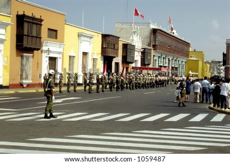 The National Anthem sounds every Sunday in colonial Trujillo, Peru. - stock photo