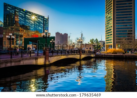 The National Aquarium and World Trade Center at the Inner Harbor in Baltimore, Maryland. - stock photo