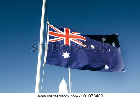 The national flag of Australia In a National War Memorial during Anzac Day Service.