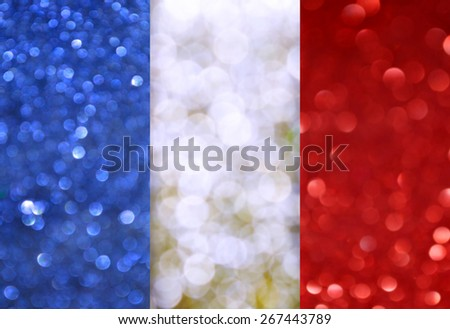 The National flag of France made of bright and abstract blurred backgrounds with shimmering glitter - stock photo