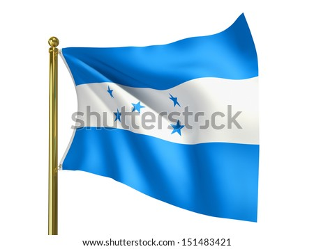 The national flag of Honduras isolated on a white background. Clipping path supplied with file.