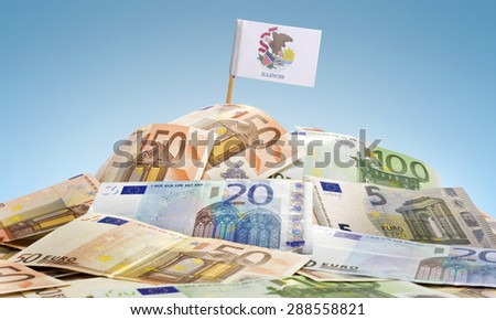 The national flag of Illinois sticking in a pile of mixed european banknotes.(series) - stock photo