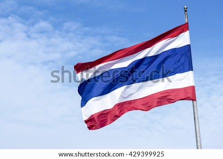 the national flag of kingdom of Thailand,kingdom of Thailand national flag with the sky