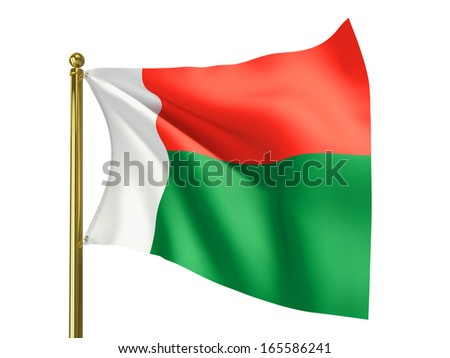 The national flag of Madagascar isolated on a white background. Clipping path supplied with file.