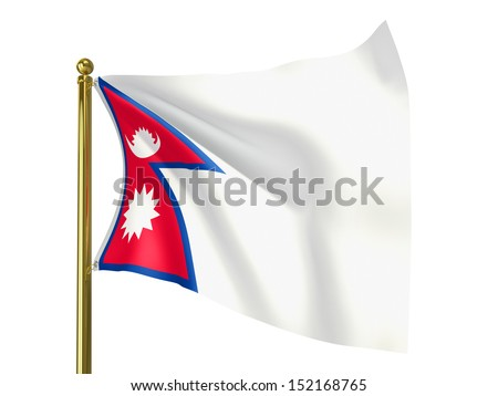 The national flag of Nepal isolated on a white background. Clipping path supplied with file. - stock photo