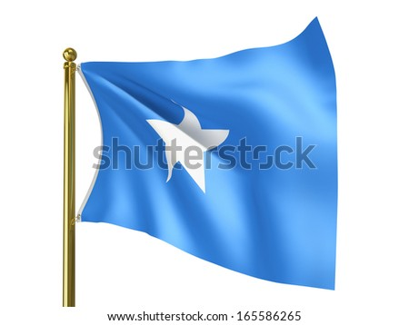 The national flag of Somalia isolated on a white background. Clipping path supplied with file. - stock photo