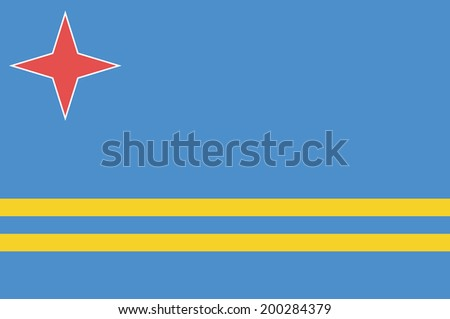 The national flag of the country of Aruba - stock photo