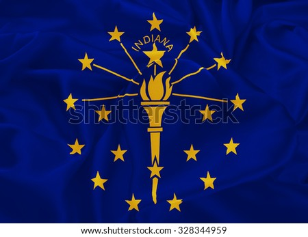 The national flag of the State of Indiana, Indianapolis - United States - stock photo