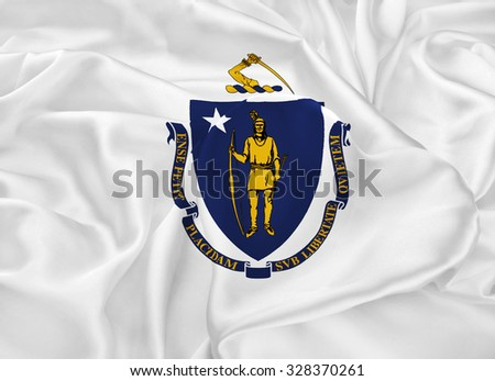 The national flag of the State of Massachusetts, Boston - the United States - stock photo