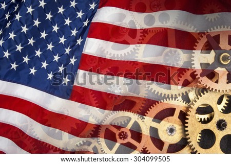 The national flag of the United States of America - American Industry - stock photo