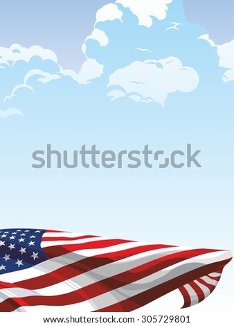 The national flag of the United States of America on a background of blue sky - stock photo