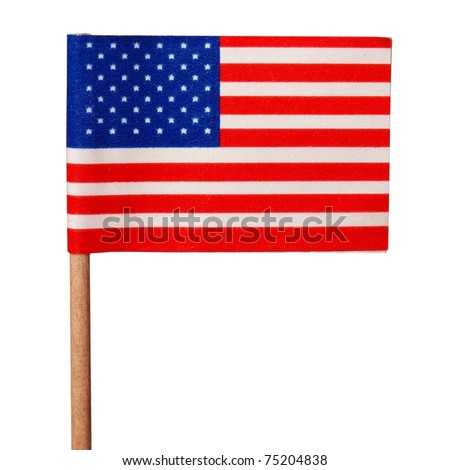 The national flag of the United States of America (USA) - isolated over white background - stock photo