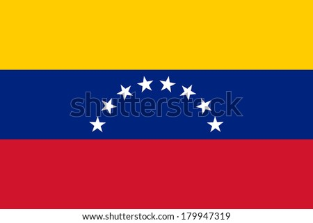 The national flag of  Venezuela (officially called the Bolivarian Republic of Venezuela)  -   Authentic to scale and color version  - stock photo