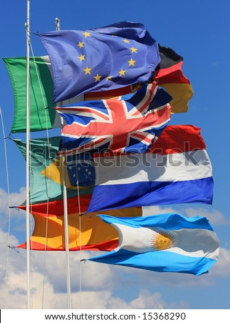 The national flags of France, UK, italy, Spain and Germany along with the European Union flag as well as the Brazilian and Argentinian all flying together.