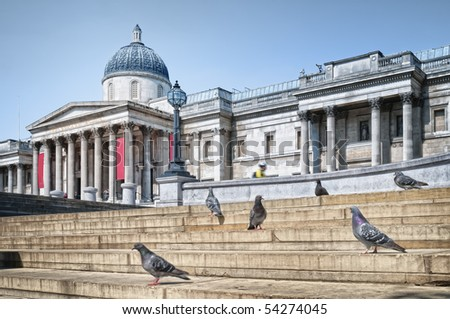 The National Gallery and Trafalgar Square, London. - stock photo