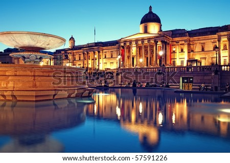 The National Gallery and Trafalgar Square, London.