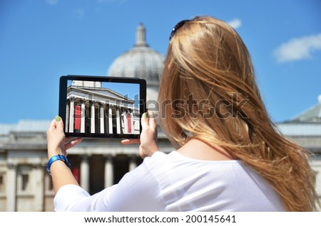 The National Gallery on the screen of a  tablet. Trafalgar square, London - stock photo
