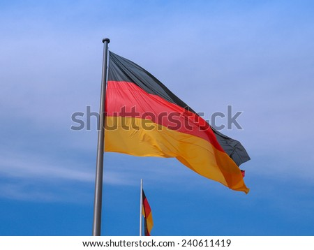 The national German flag of Germany (DE) - stock photo