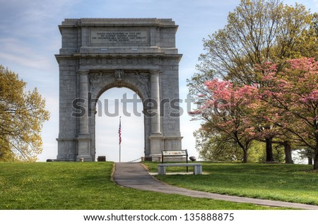 The National Memorial Arch monument dedicated to George Washington and the United States Continental Army.This monument is located at Valley Forge National Historical Park in Pennsylvania,USA. - stock photo