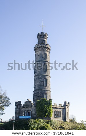 The National Monument and Nelson's Monument on Calton Hill, Edinburgh, Scotland - stock photo