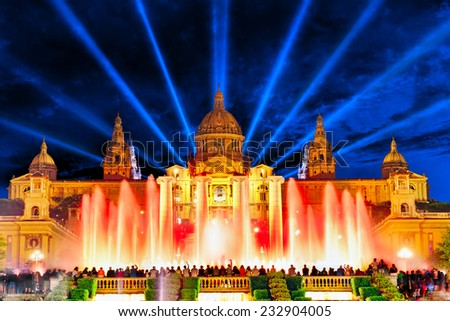 The National Palace and  famous Montjuic  Fountain in  Barcelona.Spain. - stock photo
