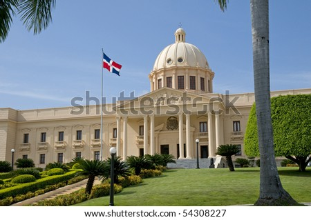 The National Palace in Santo Domingo houses the offices of the Executive Branch (Presidency and Vice-Presidency) of the Dominican Republic. - stock photo