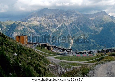 The national park of Ecrins  Orcieres Merlette resort (Alpes-France). The national park of Ecrins (100000 ha.) is home to chamois, ibex, marmots… - stock photo