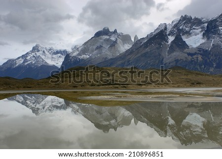 The National Park Torres del Paine with Horns of Paine, Patagonia, Chile,
