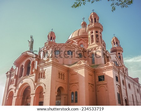 """The National Shrine of the Sacred Heart of Jesus is a Catholic church which stands on top of a rise in Montevideo, so it is known as the Church of the """"Cerrito de la Victoria"""". - stock photo"""