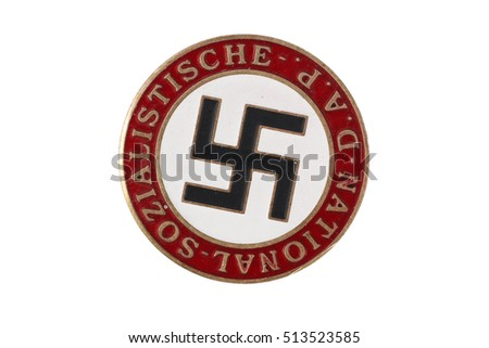 The National Socialist German Workers' Party badge isolated on white