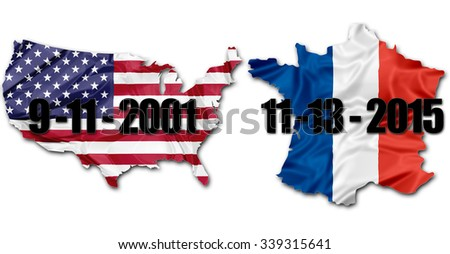 The national US Flag and Frech Flag on map of United States and France with dates of terrorist attacks of September 11 in New York and November 13 in Paris. American version.