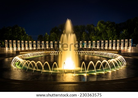The National World War II Memorial Fountains at night at the National Mall in Washington, DC. - stock photo