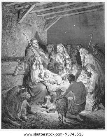 The Nativity - Picture from The Holy Scriptures, Old and New Testaments books collection published in 1885, Stuttgart-Germany. Drawings by Gustave Dore. - stock photo